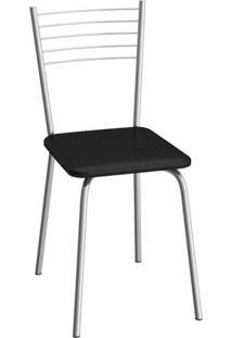 Cadeira De Aço Flex 82Cm Compoarte Cromado/Preto