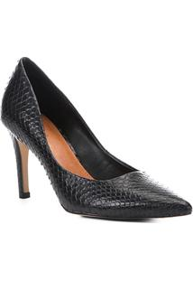 Scarpin Couro Shoestock Alto Bico Fino Snake - Feminino-Preto