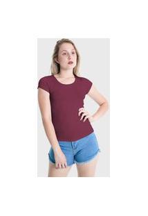 Camiseta T-Shirt Básica Plus Size Lynnce Marsala