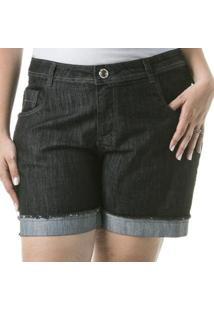 Shorts Feminino Jeans Barra Dobrada Casual Plus Size - Feminino-Preto
