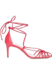 Sandália Feminina Mid Heel Lace-Up Strings - Vermelho