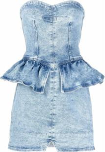 Isabel Marant Vestido Jeans Tomara Que Caia Peplum - Azul