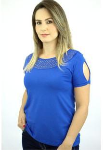Blusa Pau A Pique Básica - Feminino-Azul