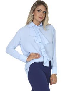 Camisa Romaria Alongada Babado Frente Azul