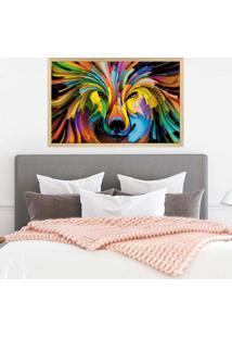 Quadro Love Decor Com Moldura Lobo Colorido Madeira Clara - Mã©Dio - Amarelo - Dafiti