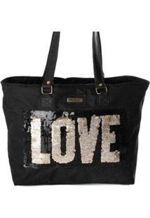Bolsa Tote Shopper Feminina Paetê Alça Ombro Dia A Dia - Feminino