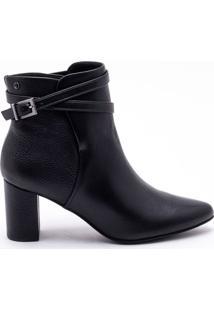 Ankle Boot Couro Preto