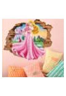 Adesivo De Parede Buraco Falso 3D Princesa Aurora 03 - G 82X100Cm