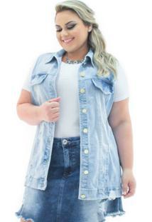 7f00274cb ... Maxi Colete Confidencial Extra Plus Size Jeans Destroyed Feminino -  Feminino-Azul Claro