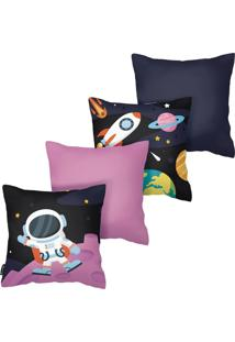 Kit Com 4 Capas Para Almofadas Infantis Astronauta Armonizzi - Tricae