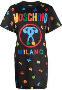 Moschino Vestido Com Estampa Gráfica - Preto