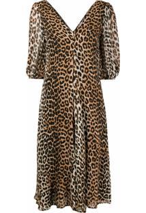 Ganni Vestido Com Mangas Bufantes E Estampa De Leopardo - Marrom