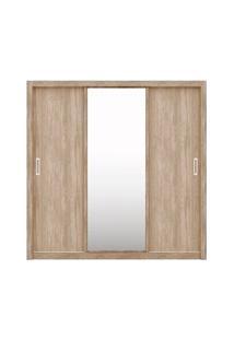 Guarda Roupa 03 Portas De Correr Com Espelho Residence Nogal/Vanilla -