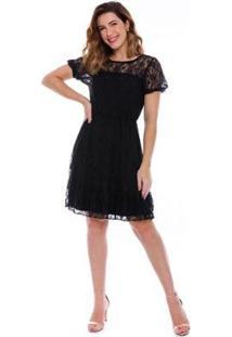 Vestido Curto Renda Preto - Feminino