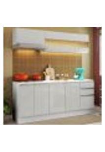 Cozinha Compacta 100% Mdf Madesa Smart 180 Cm Modulada Com Balcão E Tampo - Frentes Branco Brilho