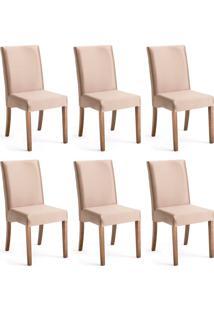 Conjunto Com 6 Cadeiras De Jantar Margaret Dourado E Imbuia