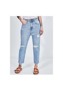 Calça Boyfriend Em Jeans Claro