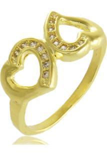 Anel Dois Corações Com Zircônias 3Rs Semijoias Dourado