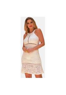 Vestido Boutelle Branco Curto De Renda Moda Festa