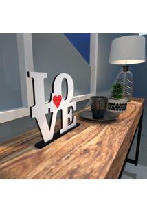Escultura De Mesa Love Em Mdf Branco Com Coração Vermelho Único