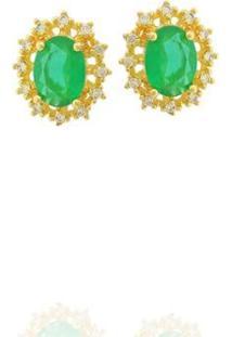 Brinco Dona Diva Semi Joias Princesa Oval Feminino - Feminino-Dourado+Verde