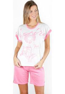 Pijama Gislal Shorts Manga Curta Verão Flores Feminino - Feminino-Branco+Rosa