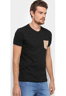 Camiseta Rg 518 Camurça Detalhe Bordado Masculina - Masculino-Preto