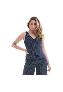 Blusa Its&Co Lacio Jeans Escuro