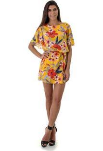Vestido Opera Rock Dress Flor Gabriela - Feminino-Amarelo
