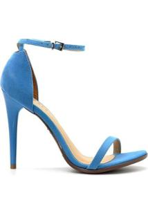Sandália Royalz Nobuck Salto Alto Fino Tira Feminino - Feminino-Azul