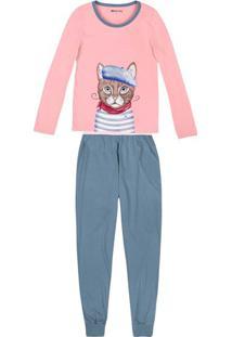 4f19010eb963ff Pijama Feminino Em Malha De Algodão Com Estampa Frontal