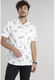 Camisa Masculina Estampada De Andorinhas Manga Curta Off White