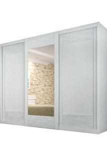 Guarda-Roupa Supreme Branco 3 Portas De Correr Com 1 Espelho Rufato Móveis