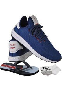 Kit Tênis Runner Polo Joy Sport Com Meia E Chinelo Masculino - Masculino-Azul Escuro