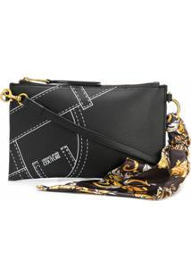 Versace Jeans Couture Bolsa Transversal Com Estampa Jeans - Preto