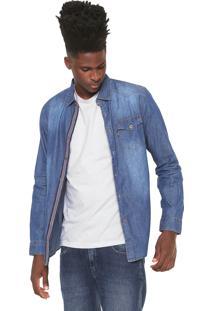 Camisa Jeans Broken Rules Reta Pespontos Azul