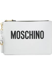 Moschino Bolsa Clutch De Couro - Branco