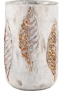 Vaso Cimento E Folhas Cobre Grande