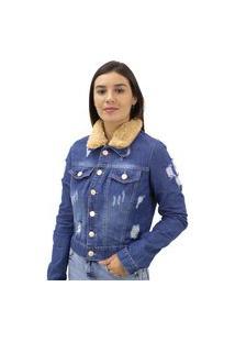 Jaqueta Jeans Destroyed Gola Em Pelo Naraka