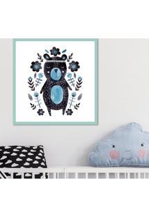Quadro Pump Up Emoldurado Urso Em Aquare - Azul - Dafiti