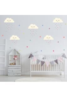 Adesivo De Parede Infantil Quartinhos Nuvens Estrelas E Gotas Colorido