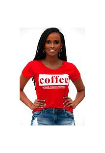Camiseta Miss Glamour Store Coffee Vermelha