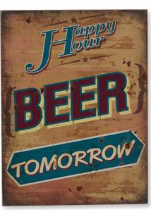 Quadro Em Madeira Beer Tomorrow 40X30Cm