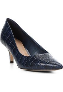 Scarpin Couro Shoestock Croco Salto Baixo Bico Fino - Feminino-Marinho
