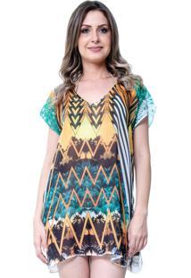 Blusa Estampada 101 Resort Wear Tunica Decote V Fendas Étnico Laranja