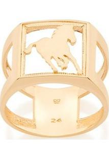 Anel Masculino Aro Duplo Cavalo Rommanel - Feminino-Dourado