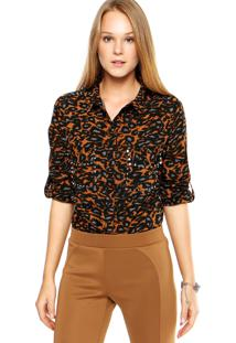 Camisa Ellus American Leopard Bege/ Preto