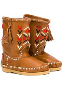Alberta Ferretti Kids Ankle Boot Com Bordado - Marrom