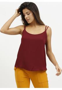 Blusa Lisa & Texturizada Com Tiras- Vinho- Milioremiliore