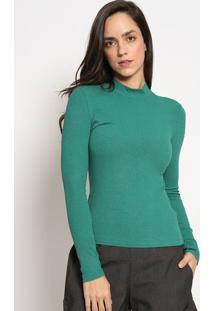 Blusa Canelada Com Tag - Verde - Sommersommer